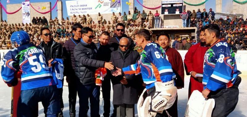 Kiren Rijiju meets athletes during an exhibition Ice Hockey match at Ladakh Khelo India Winter Games