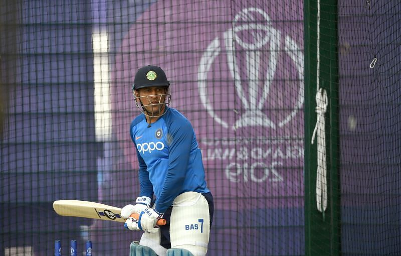 Dhoni during India vs New Zealand net sessions