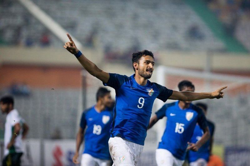 Manvir Singh in action for India