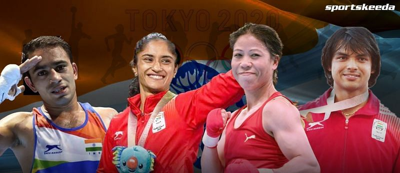 From Left to right: Amit Panghal, Vinesh Phogat, Mary Kom, and Neeraj Chopra