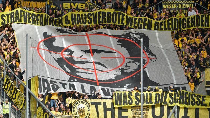 The banner which led to the stadium ban slapped on Dortmund fans