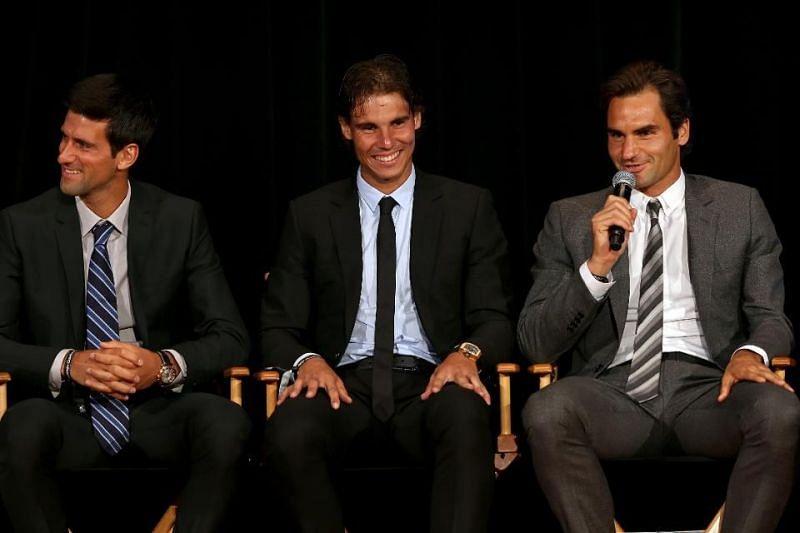Roger Federer, Rafael Nadal and Novak Djokovic (from right to left).