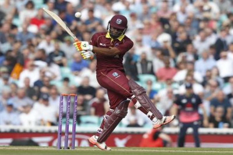 Evin Lewis during his innings of 176 against England at the Oval in 2017