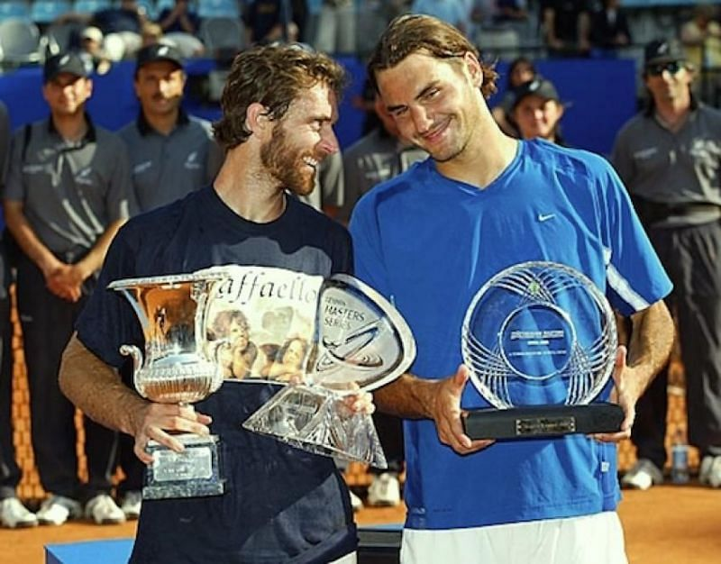Felix Mantilla lifts the 2003 Rome Masters title.