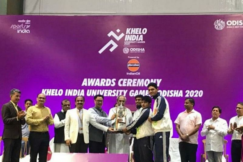 Panjab university lifted the coveted trophy of the inaugural Khelo India University Games