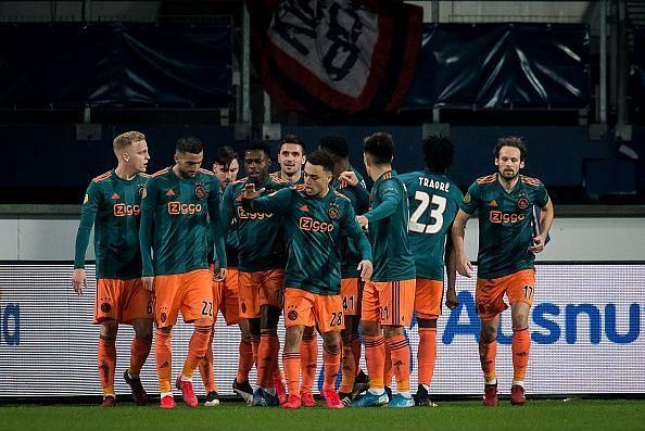 Ajax players during their recent game against Heerenveen