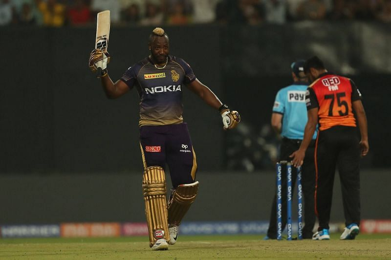 कोलकाता नाइटराइडर्स के आलराउंडर खिलाड़ी आंद्रे रसेल