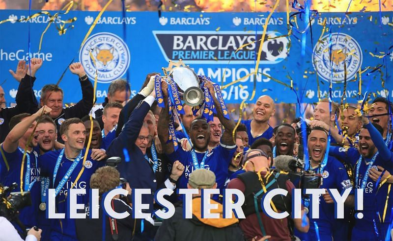 Leicester City lift the Premier League trophy in 2016