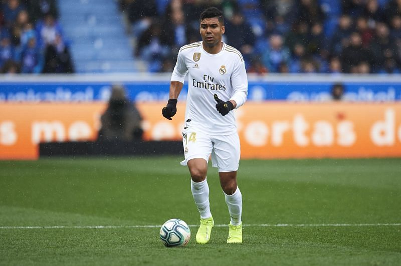 Casemiro during a La Liga game against Deportivo La Coruna