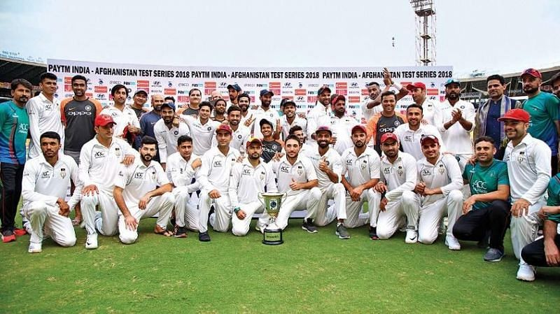 India and Afghanistan during the post-match felicitation ceremony.