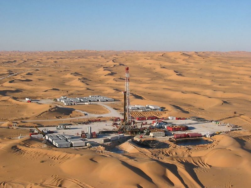 A desert rig in the United Arab Emirates, from where the financial clout emerges