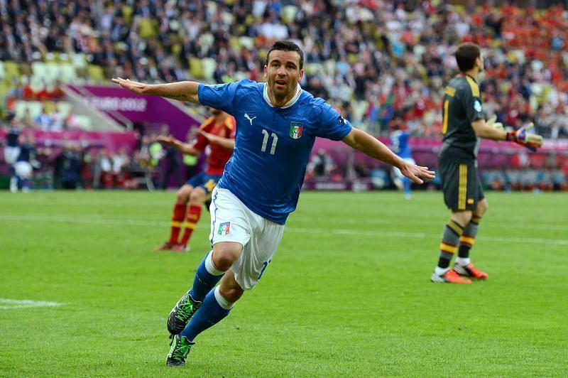 Antonio di Natale celebrates scoring a Euro 2012 goal for Italy against Spain in Gdansk.