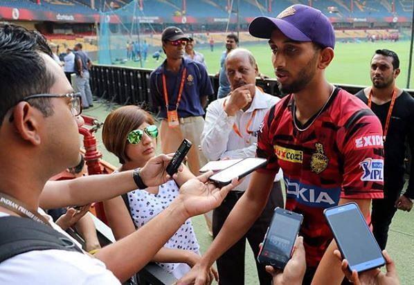 Prasidh interacts with reporters at the M Chinnaswamy Stadium [PC: Prasidh Krishna Instagram account]