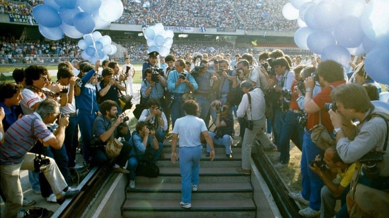At his unveiling 70,000 people showed up at San Paolo Stadium in 1984