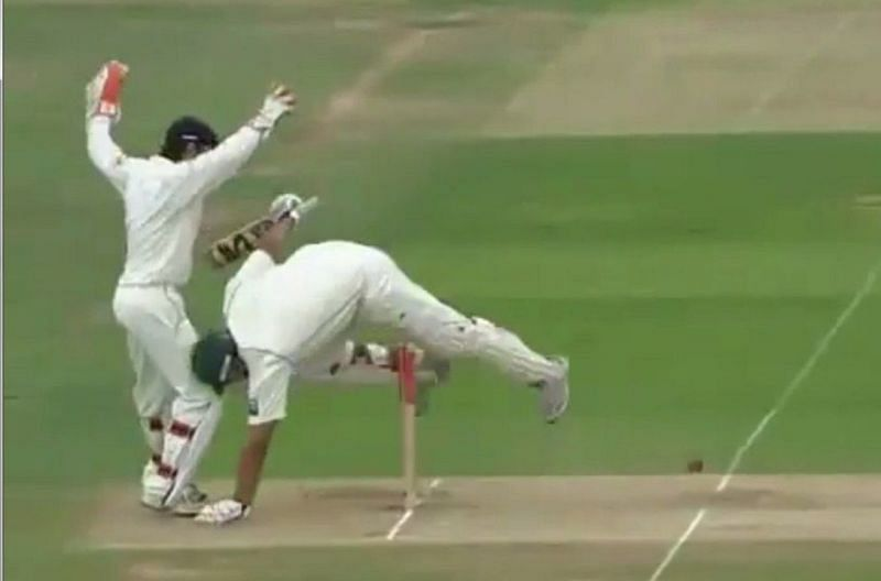 Inzamam nearly took out Chris Read along with the stumps