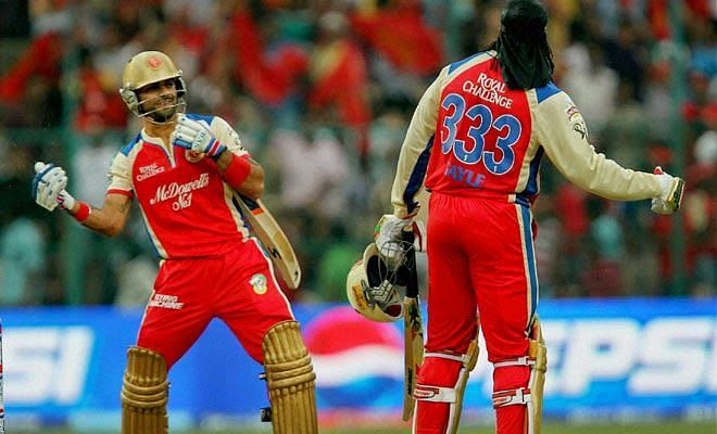 Virat Kohli and Chris Gayle in an animated mood