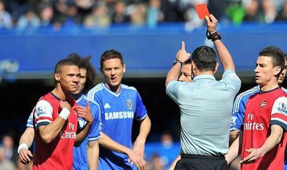 A shocking case of mistaken identity saw Kieran Gibbs sent off against Chelsea in 2014