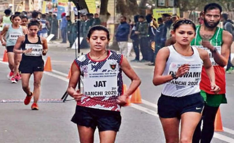 Bhawna Jat at the 2020 National Race walking championship in