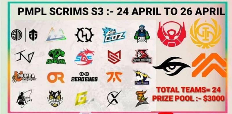 PMPL Scrims Season 3 Teams