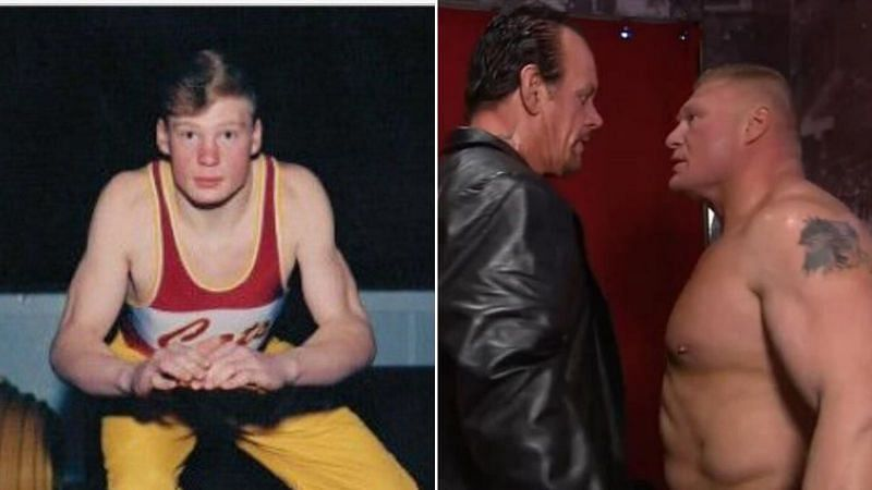 Brock Lesnar in high school alongside Lesnar backstage with The Undertaker