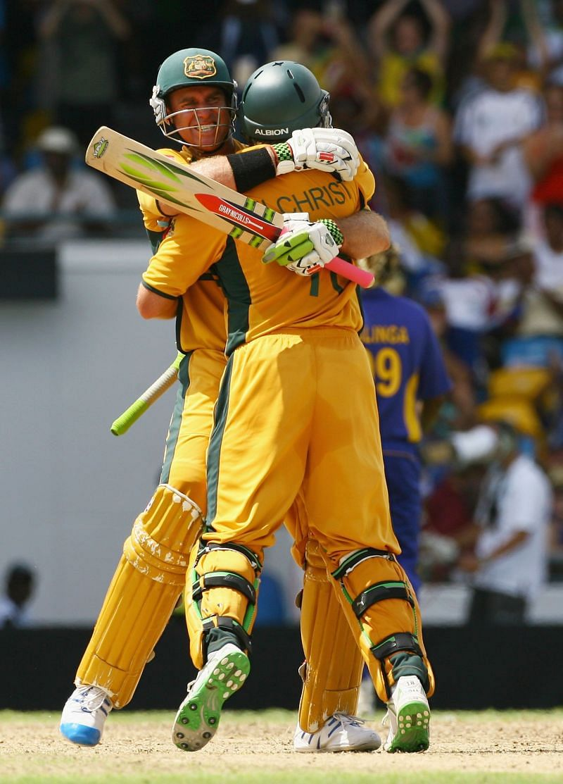 Matthew Hayden and Adam Gilchrist celebrate during the 2007 ICC World Cup final against Sri Lanka.
