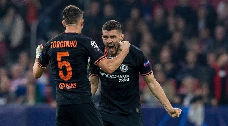 Jorginho and Mateo Kovacic playing for Chelsea in the UEFA Champions League