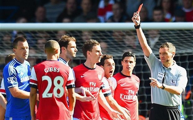 Wrong Arsenal player sent off in London derby