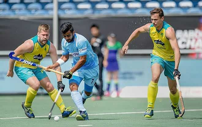 Manpreet Singh in action against Australia (Source: The Tribune)