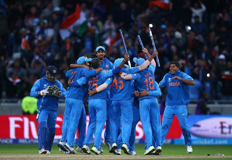India celebrating its ICC Champions Trophy 2013 win.