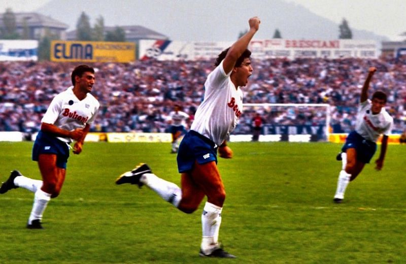 Celebrating a goal with Bruno Giordano and Ciro Ferrara joining in