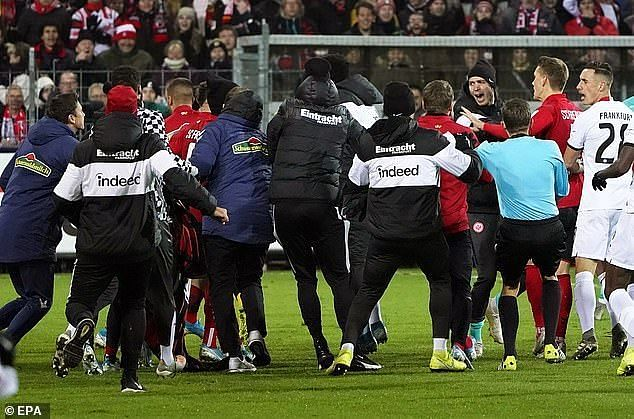 This mass brawl was triggered by a bizarre red card for Frankfurt