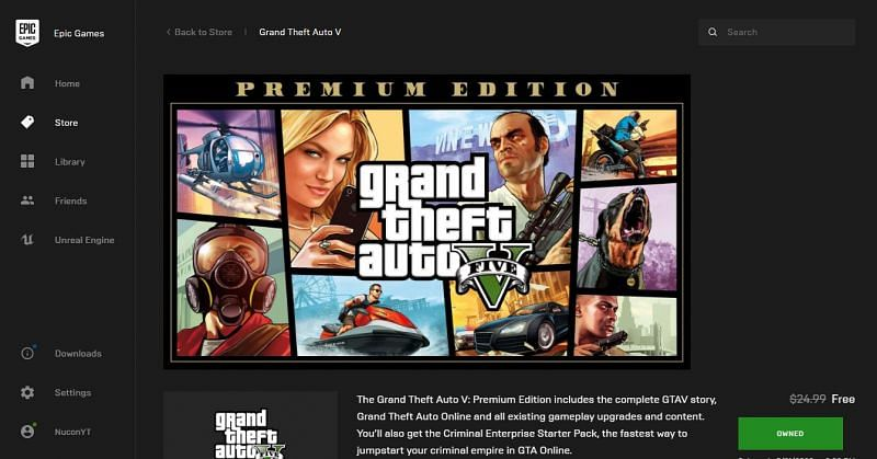 Download GTA 5 Premium Edition from Epic Store for free