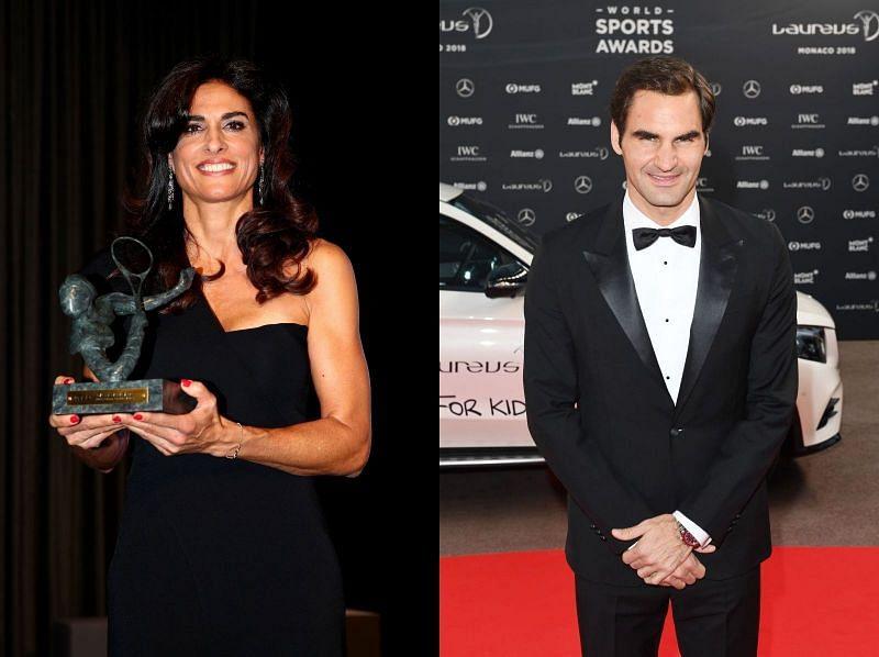 Gabriela Sabatini (L) and Roger Federer