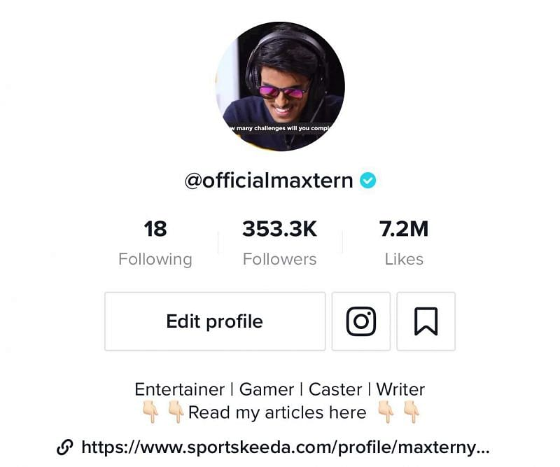 Maxtern has more than 350K followers on Tik Tok