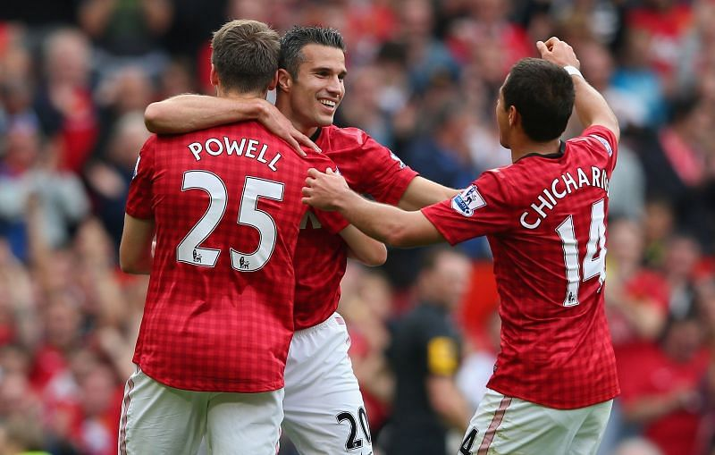 Chicharito shared the stage with Robin van Persie, Rooney and other United greats