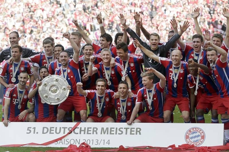 Bayern Munich celebrate their 2013-14 Bundesliga triumph