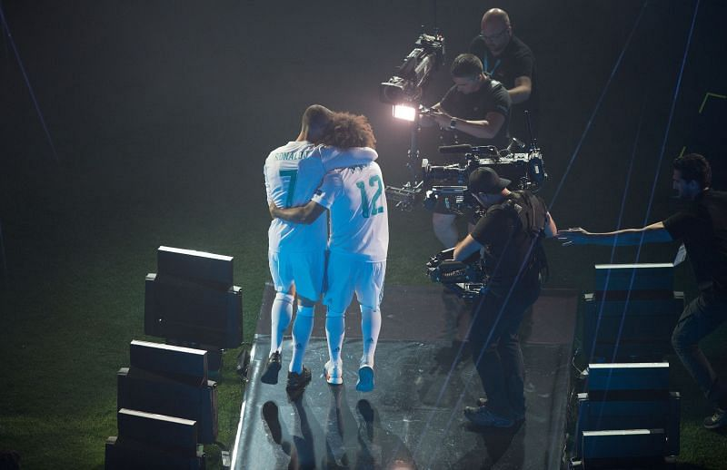 Ronaldo and Marcelo celebrating after Real