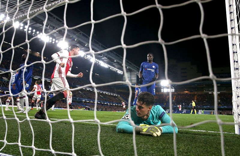 Kepa dejected after conceding an own goal against Ajax