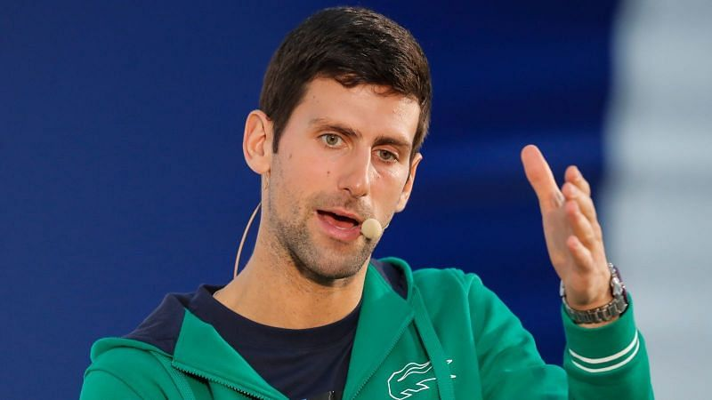 Novak Djokovic during a press conference