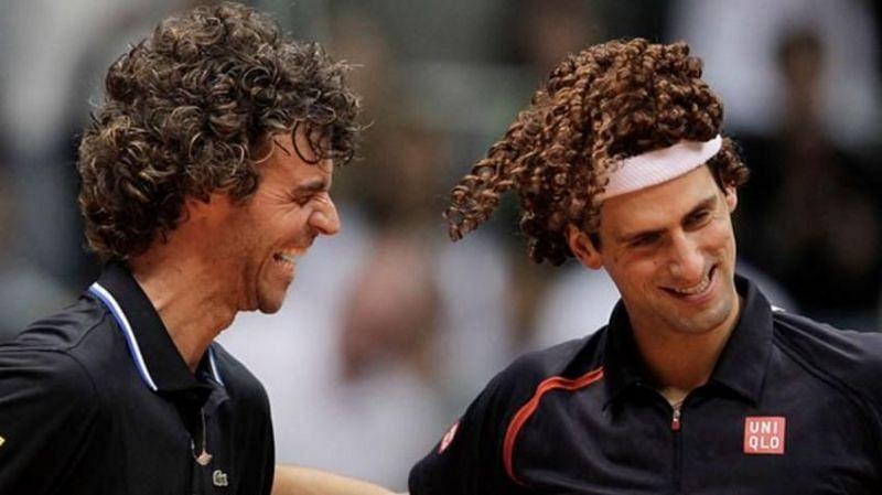 Gustavo Kuerten (left) with Novak Djokovic