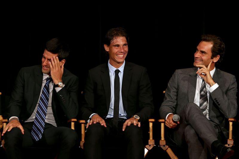 From left: Novak Djokovic, Rafael Nadal and Roger Federer