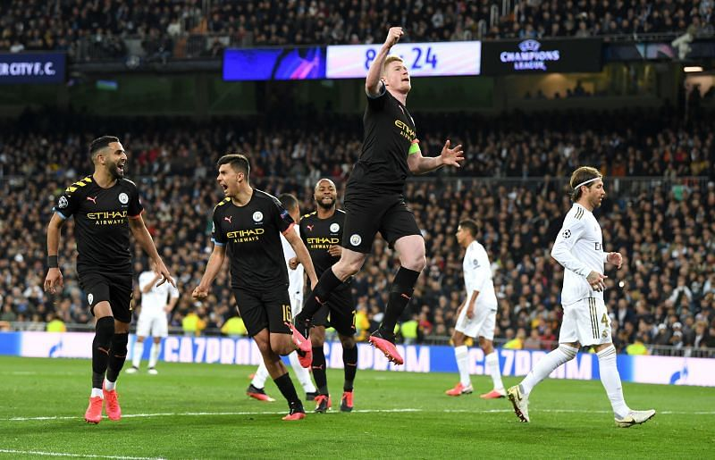 Kevin De Bruyne during a UEFA Champions League game against Real Madrid