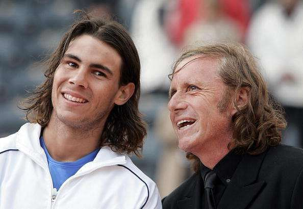 A young Rafael Nadal with Guillermo Vilas