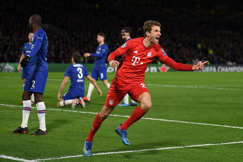 Thomas Muller rejoices after Bayern score a goal against Chelsea