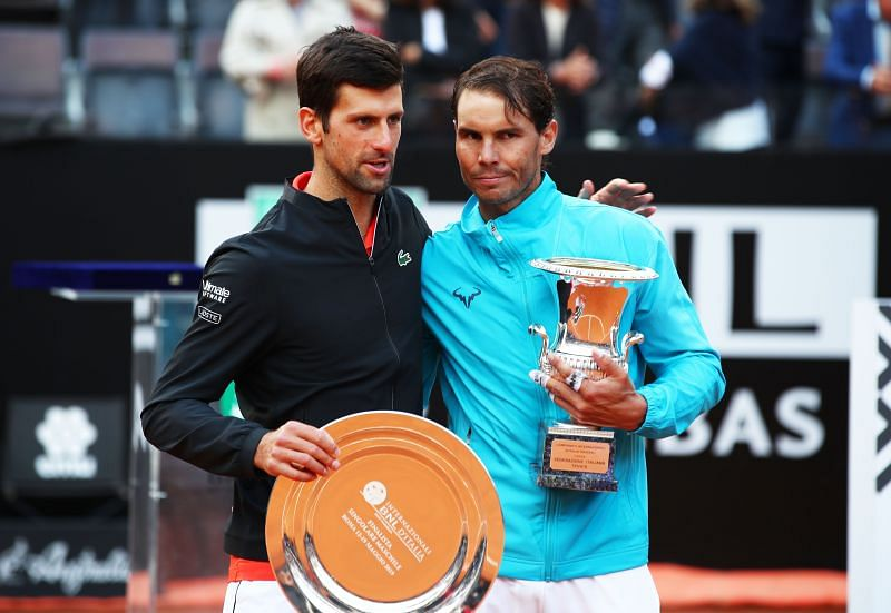 Novak Djokovic (L) and Rafael Nadal (R) follow Roger Federer in the list of highest paid athletes