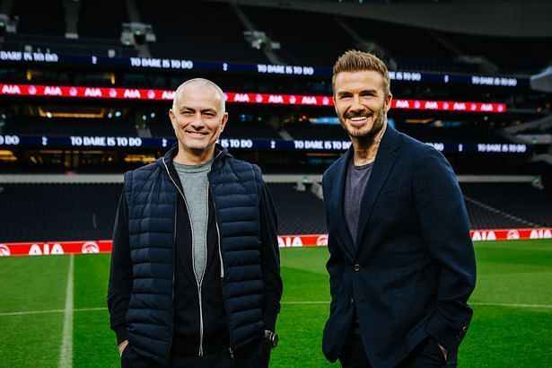Jose Mourinho and David Beckham at the Tottenham Hotspur Stadium. PC: James Drew Turner