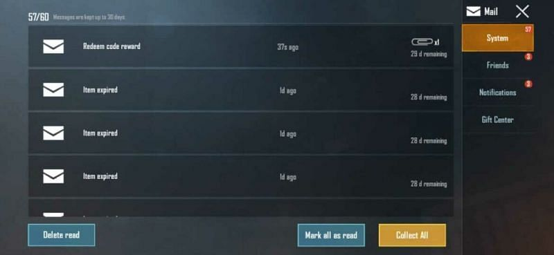 Mail Section in PUBG Mobile PUBG Mobile 1000 Popularity Redeem Code (Image Credits: PUBG Mobile)