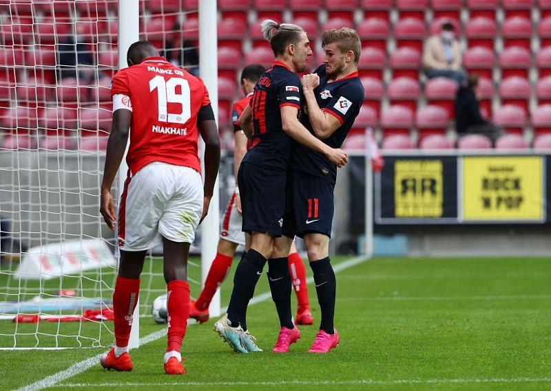 Werner celebrating his hat-trick against Mainz on Sunday