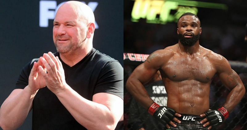 Dana White and Tyron Woodley.