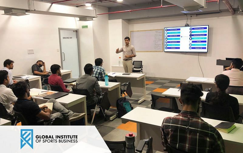Teaching Students about Sports Business at GISB India. Credits- GISB India Social Media